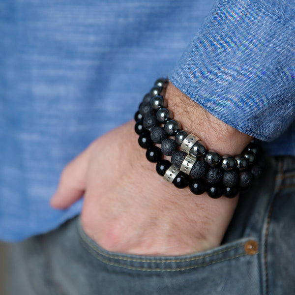 Personalised Mens Bead Silver Bracelet