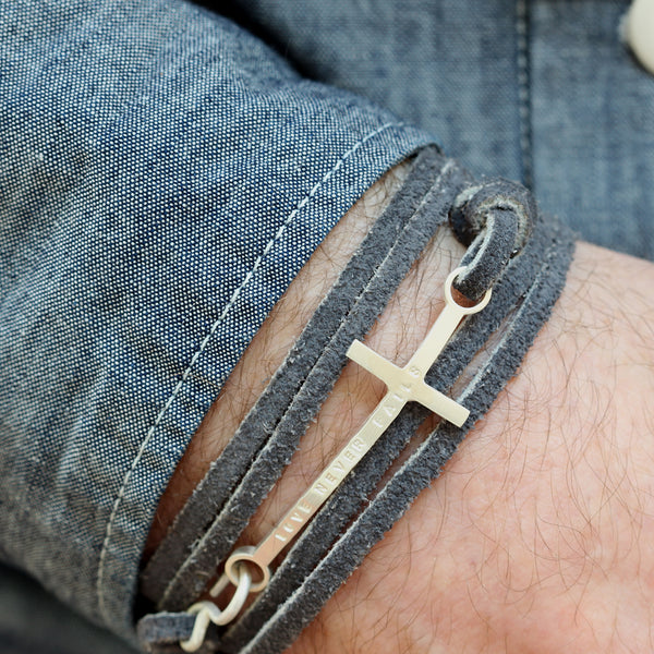 Mens Personalised Silver Cross Leather Bracelet - Soremi Jewellery
