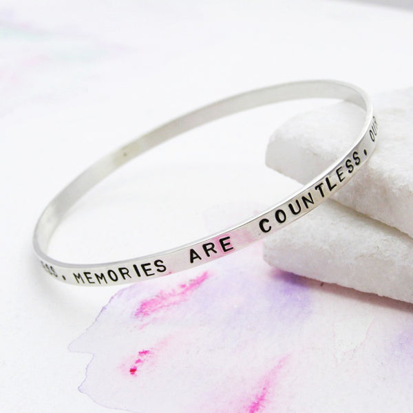 Personalised Sterling Silver Narrative Bangle - Soremi Jewellery