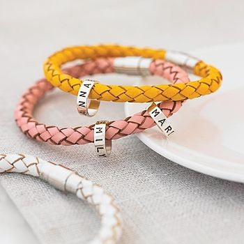 Personalised Leather Bracelet with Silver Hoops - Soremi Jewellery
