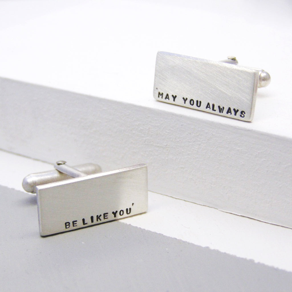 Classic Silver Personalised Mens Cufflinks