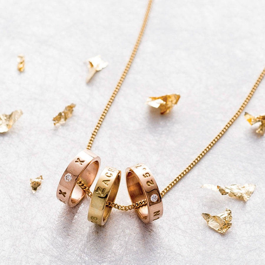 Personalised Gold Trio Pendant - Soremi Jewellery