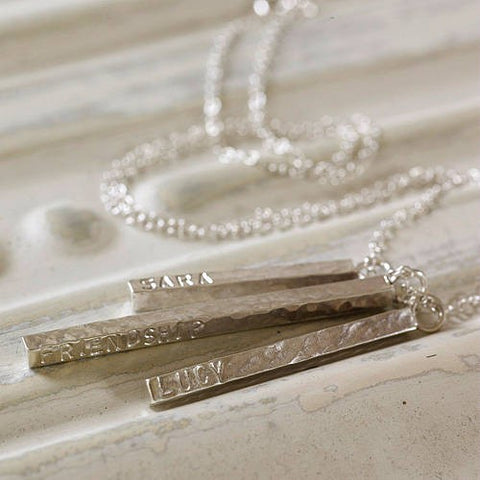 Personalised Silver Bar Pendant