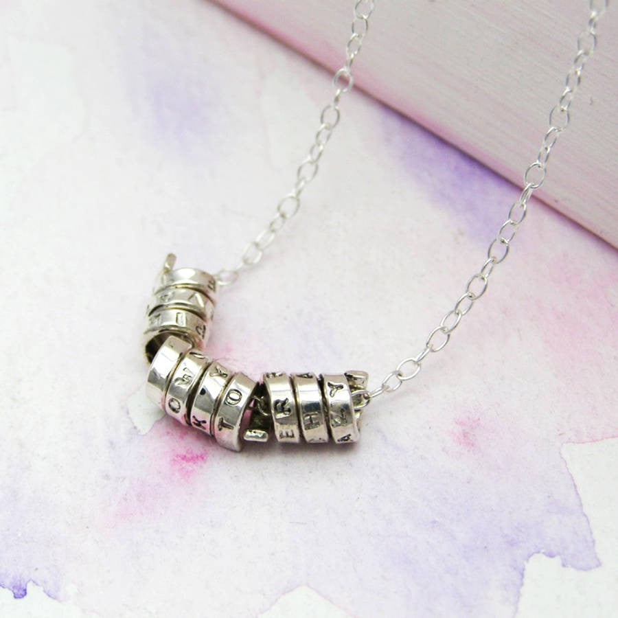 Silver Personalised Skinny Scroll Necklace - Soremi Jewellery