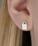 Silver Padlock Stud Earrings