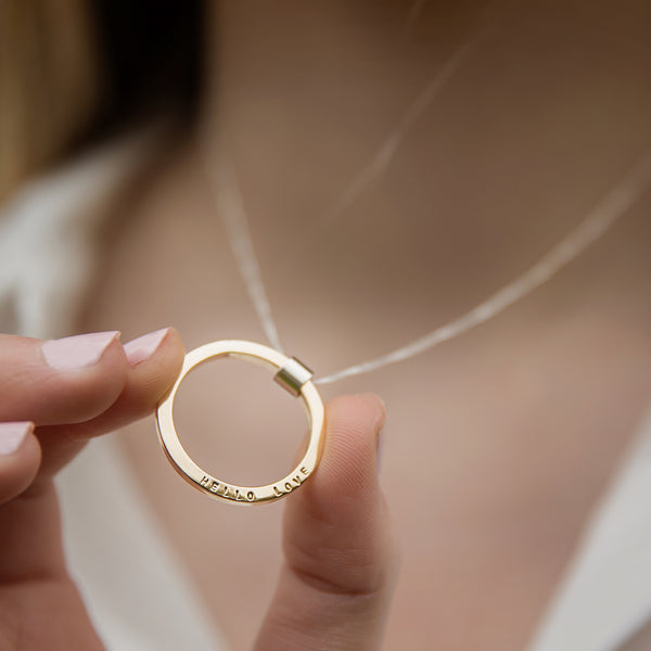 Personalised Large 9ct Yellow Gold Full Circle Necklace