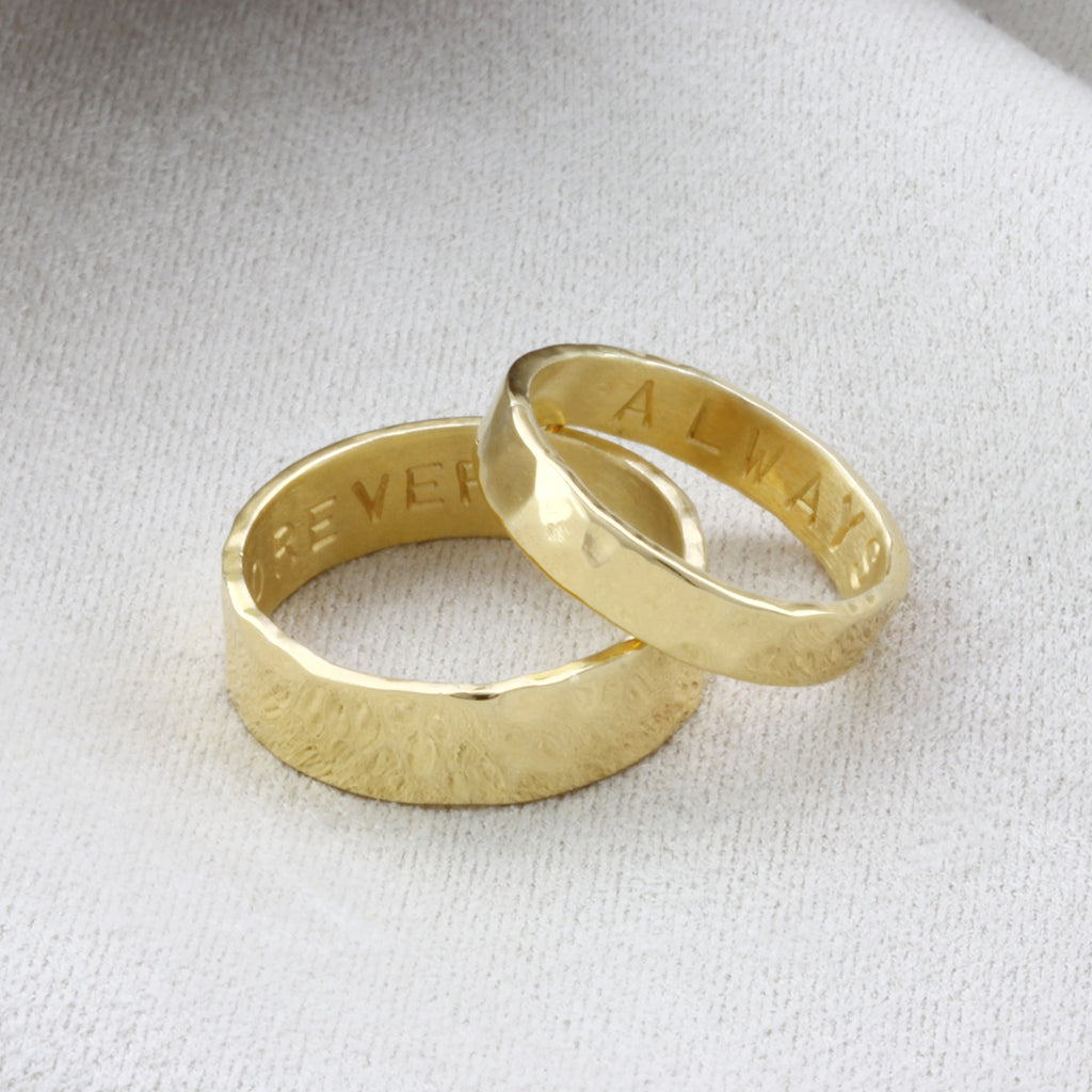 9ct Gold His & Hers Silver Personalised Rings
