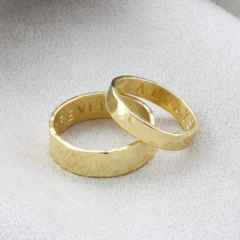 9ct Gold His & Hers Personalised Rings