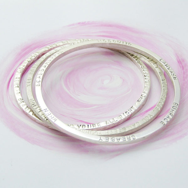 Chunky Silver Narrative Bangle - Soremi Jewellery