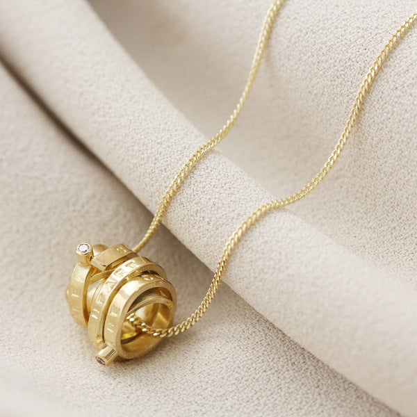 Personalised Gold Scroll With Diamonds Pendant