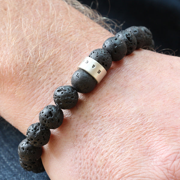Personalised Mens Lava Bead Bracelet