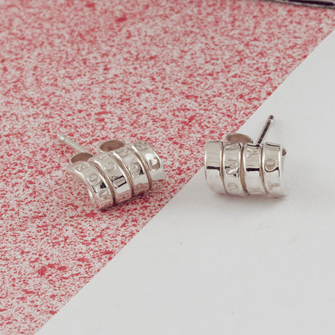 Personalised Silver Scroll Stud Earrings