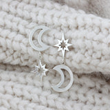Personalised Star & Moon Mismatched Earrings