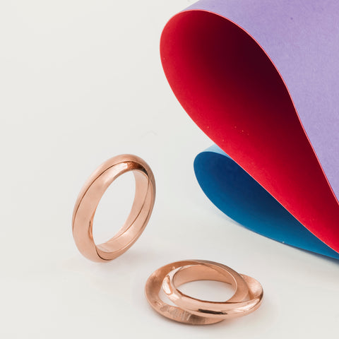 Mobius Infinity Personalised Rose Gold Wedding Bands