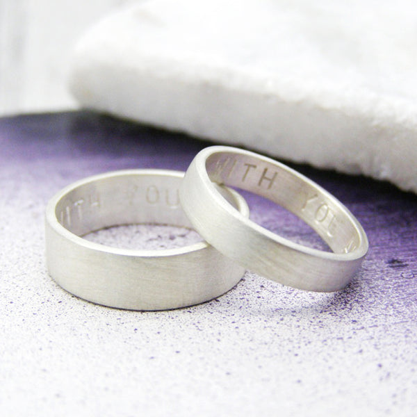 Matching Personalised Silver Rings - Soremi Jewellery
