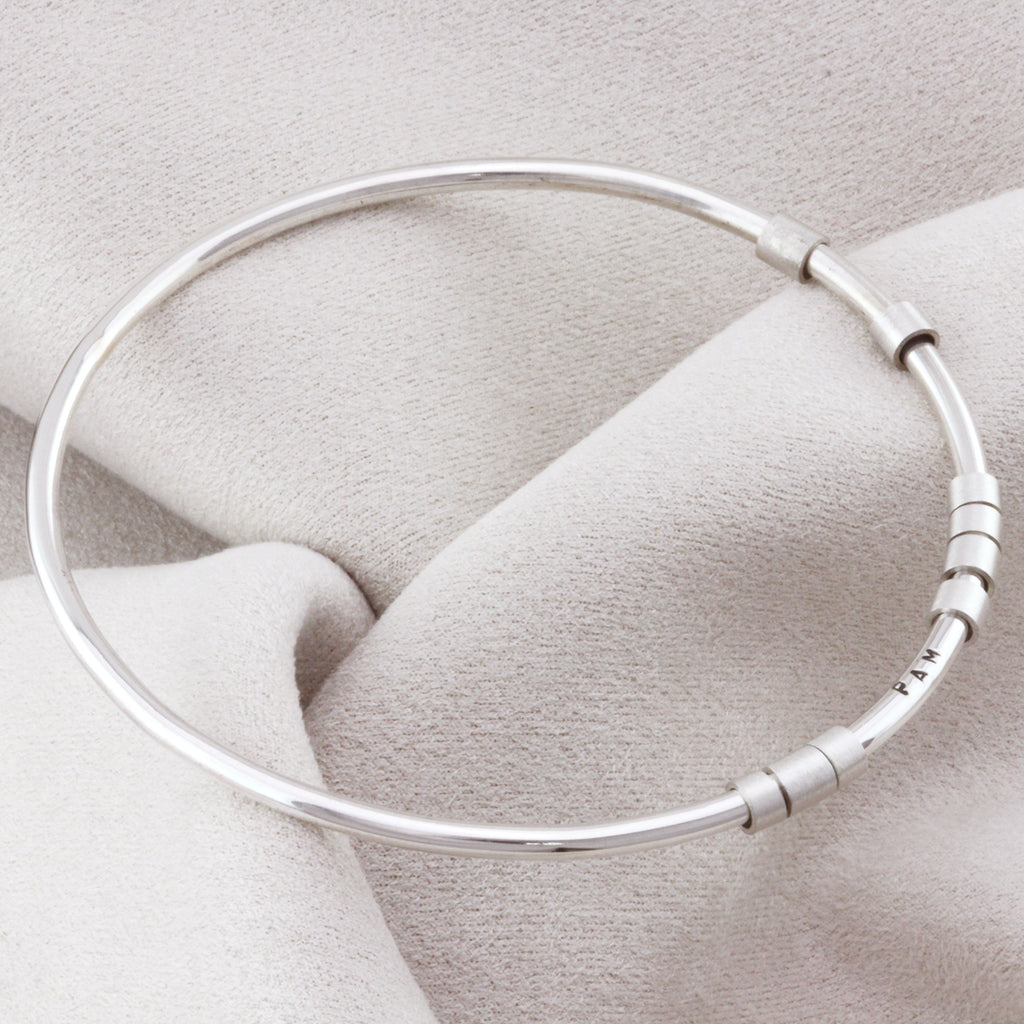 Personalised Silver hidden message bangle