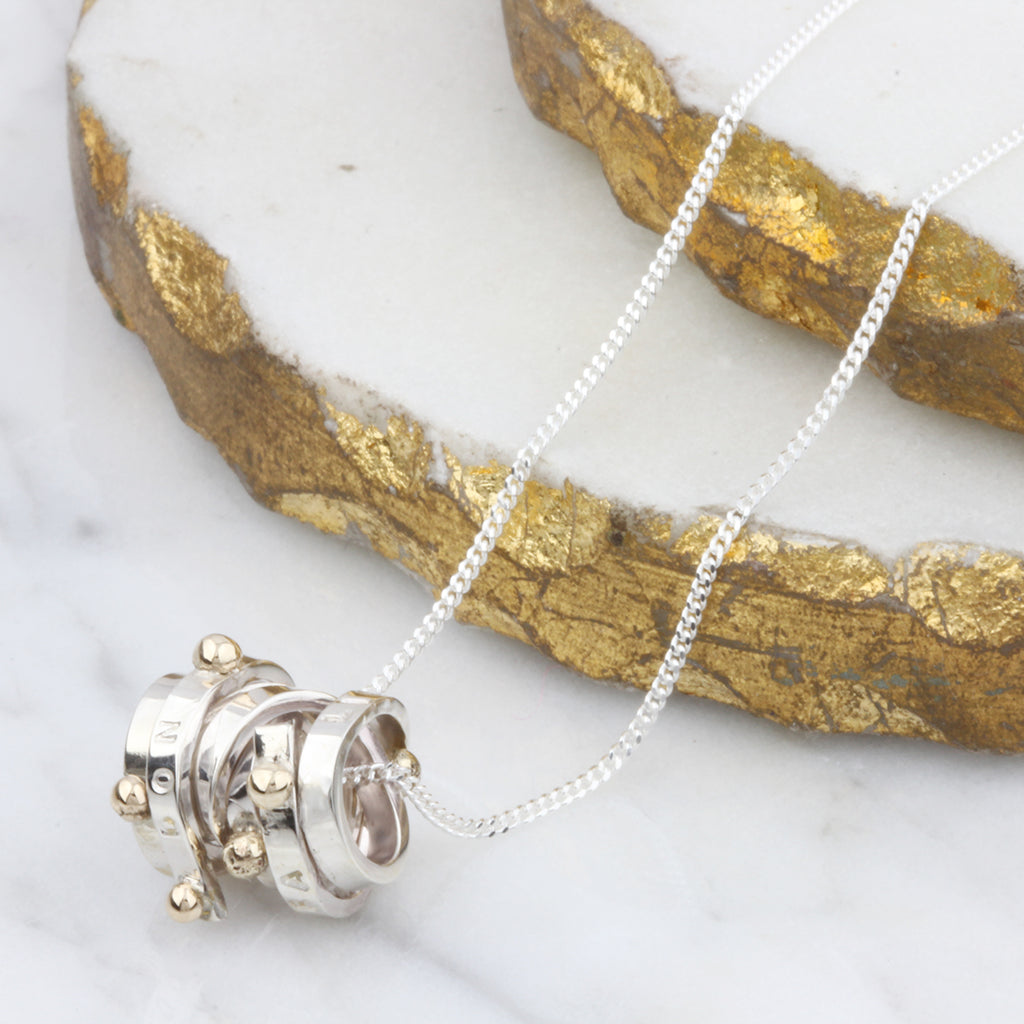 Personalised Silver & 9ct Gold Scroll Necklace