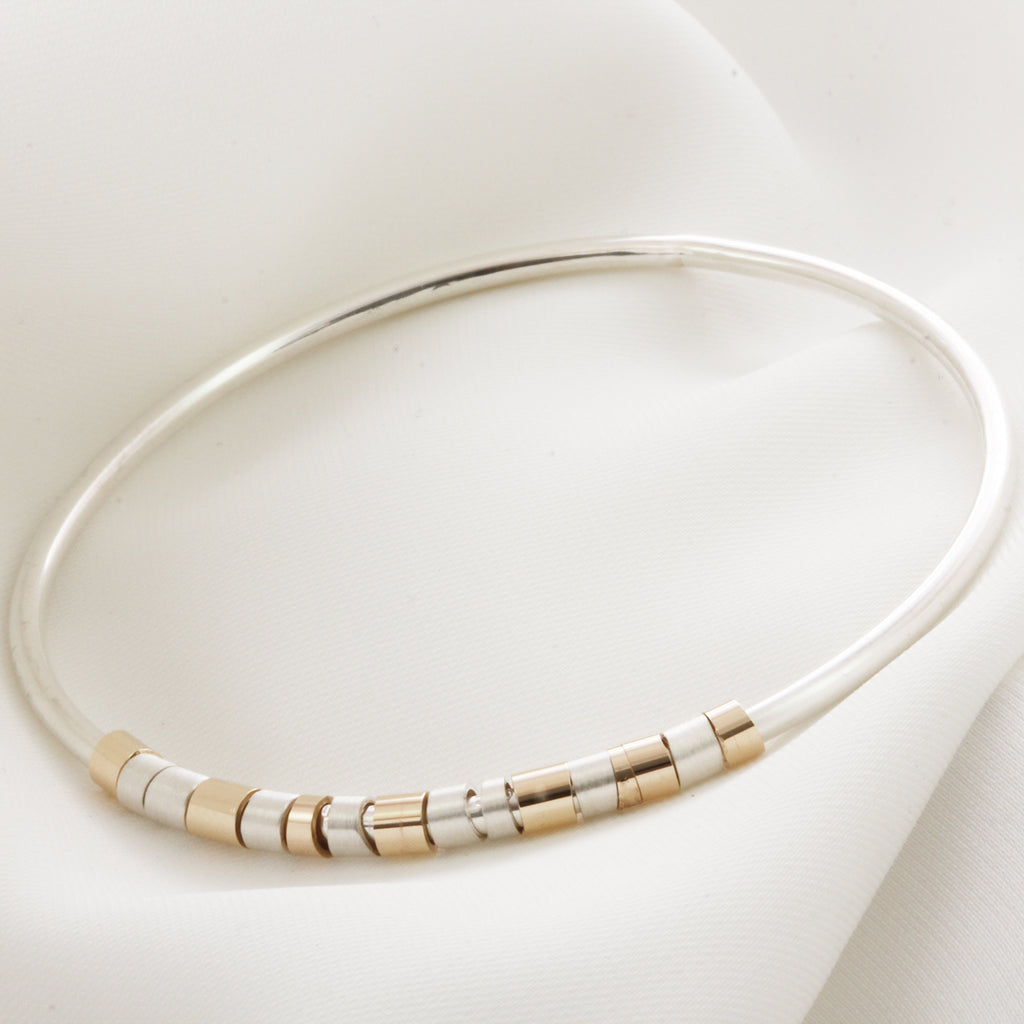 Personalised Silver & Gold Hidden Message Bangle