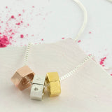 Personalised Solid Gold Trio Nut Necklace