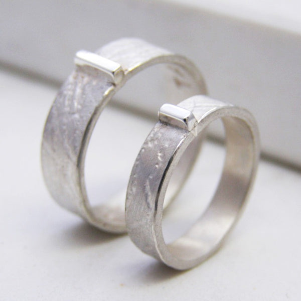 Textured Silver Personalised His And Hers Rings - Soremi Jewellery