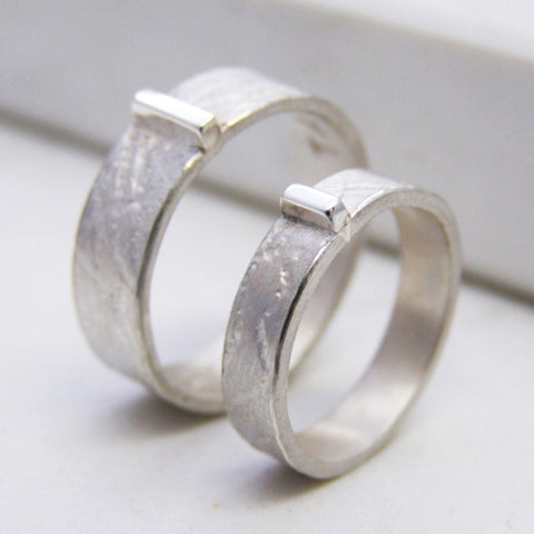 Textured Silver Personalised His And Hers Rings