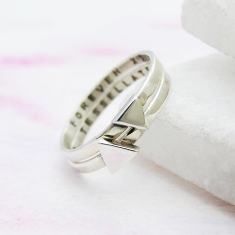 Sterling Silver Tesselate Stacking Rings