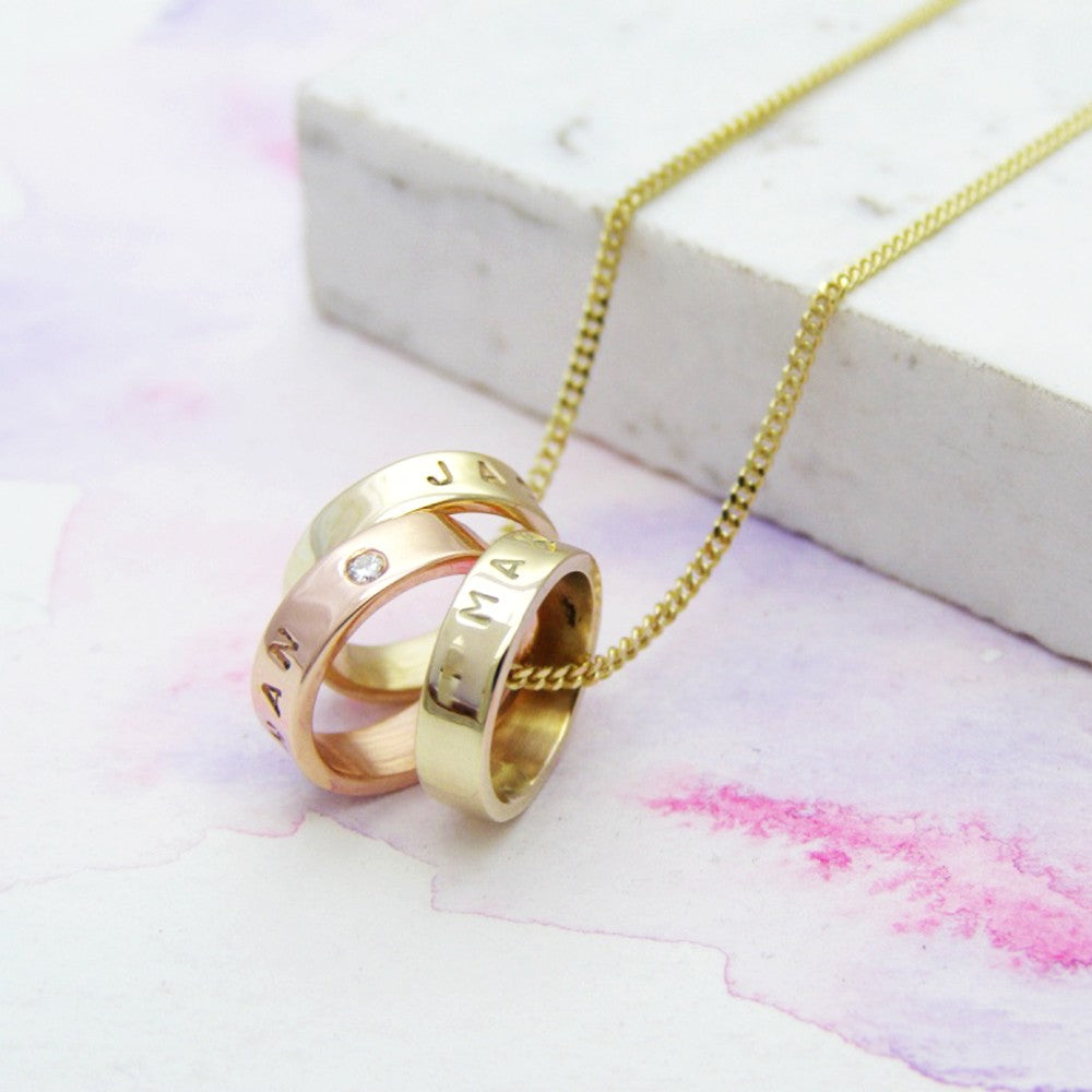 Yellow & Rose Gold Personalised Necklace With Diamonds - Soremi Jewellery