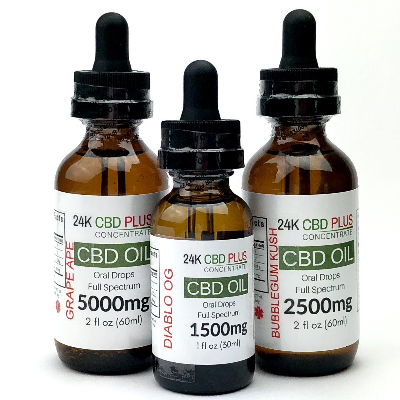 Full Spectrum CBD Oil Tincture With Canna Terpenes  DIABLO OG, STRAWBERRY COUGH, GELATO, GRAPE APE, BUBBLEGUM KUSH