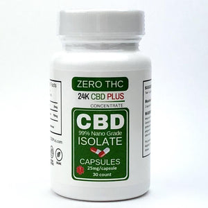 Natural Remedies - 99.6% Pure NANO CBD Capsules ( 0% THC) 25 Mg Each - 30 Count ( 750mg Total )