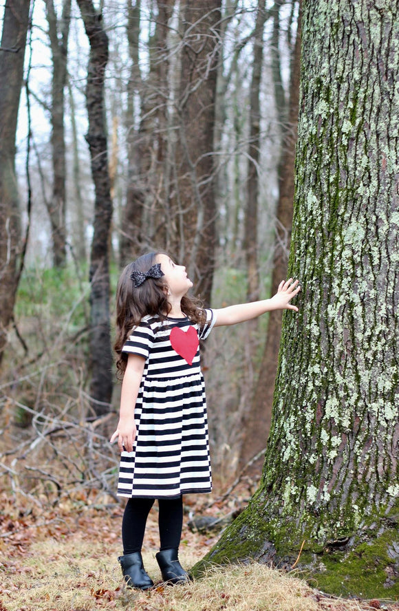 heart striped dress girls dress