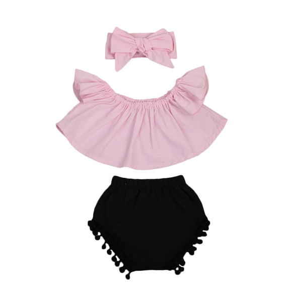 The Faye Pink and Black Pom Pom Set