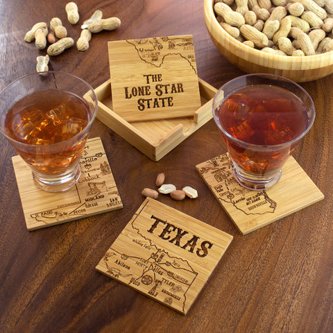 State Puzzle Bamboo Coaster Sets