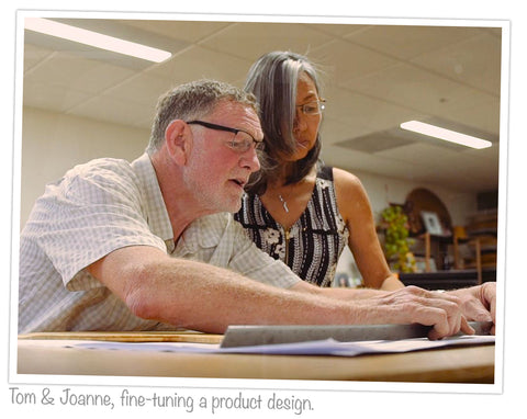 Tom and Joanne, fine-tuning a product design in their San Marcos offices.