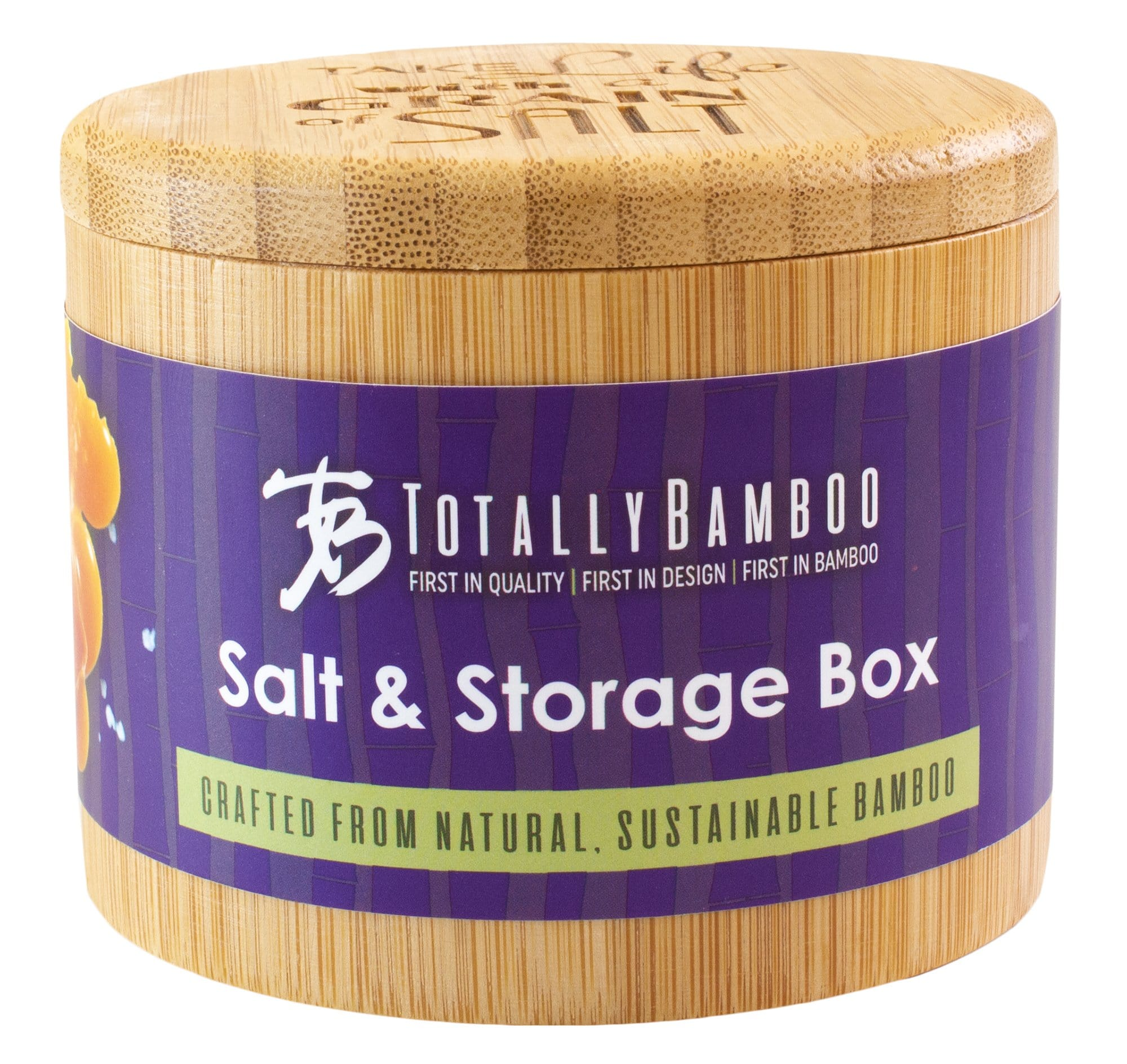 "Salt Box with Magnetic Swivel Lid, ""Take Life with a Grain of Salt"" Engraving on Lid"