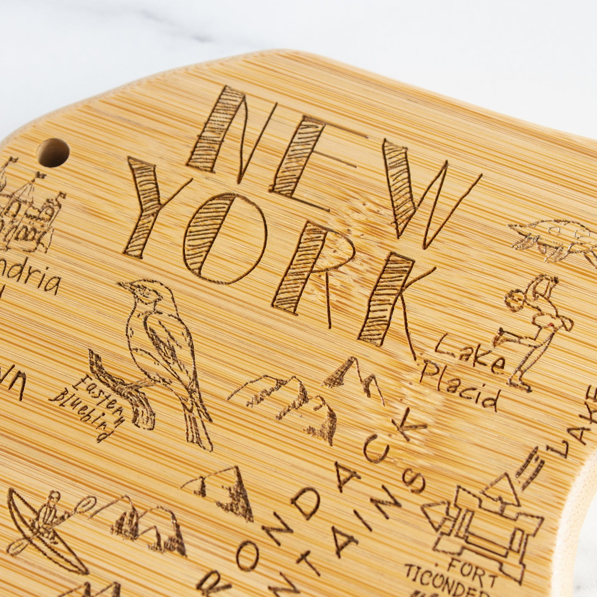 Destination New York State Shaped Bamboo Serving and Cutting Board