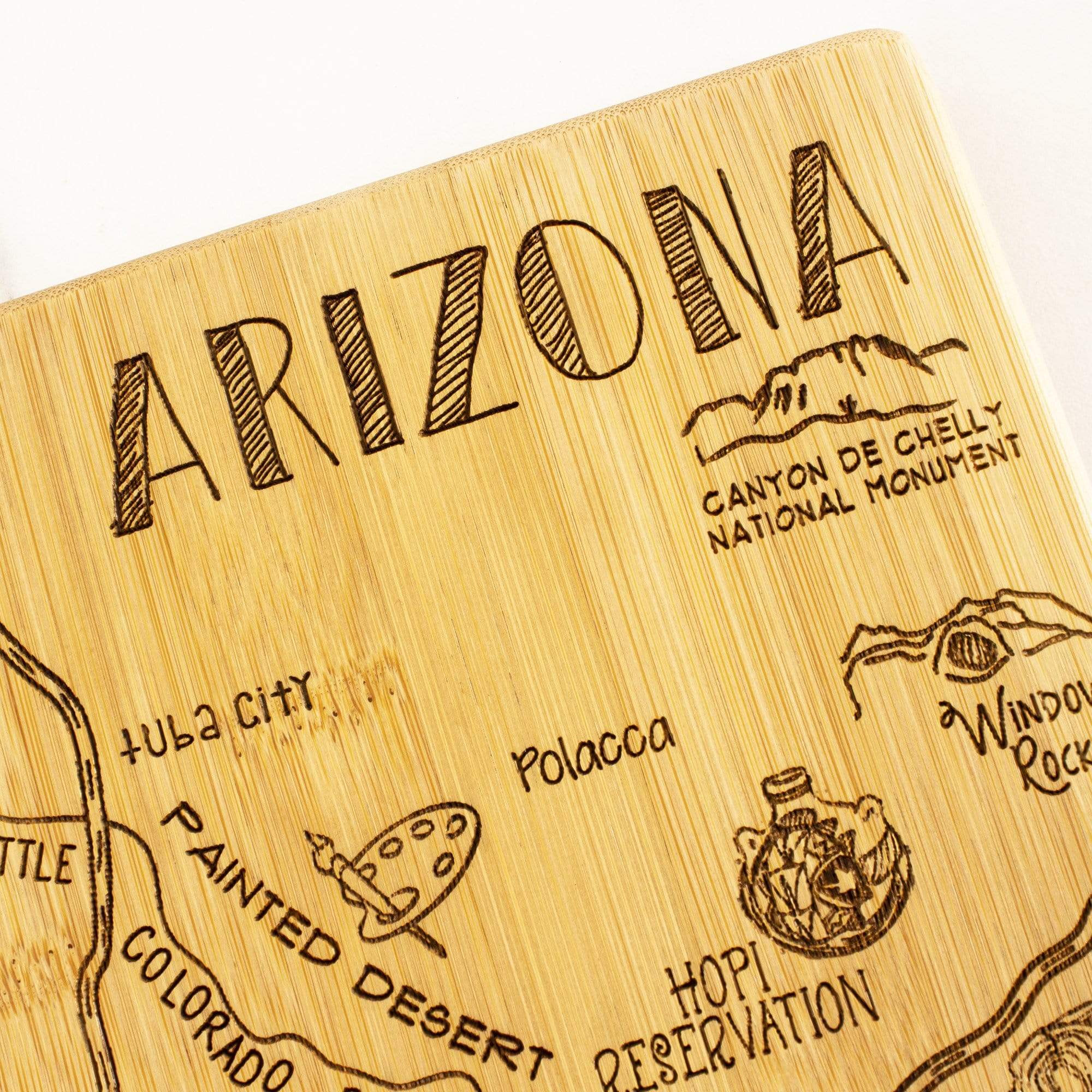 Destination Arizona State Shaped Bamboo Serving and Cutting Board