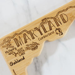 Destination Maryland State Shaped Bamboo Serving and Cutting Board