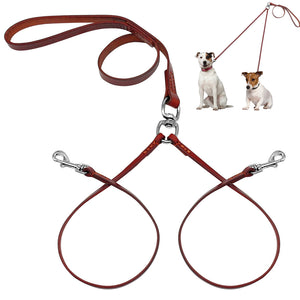 2 Way Real Leather Coupler Dog Walking Leash Dual No Tangle Lead For 2 Dogs Good For Small Medium Breeds Brown