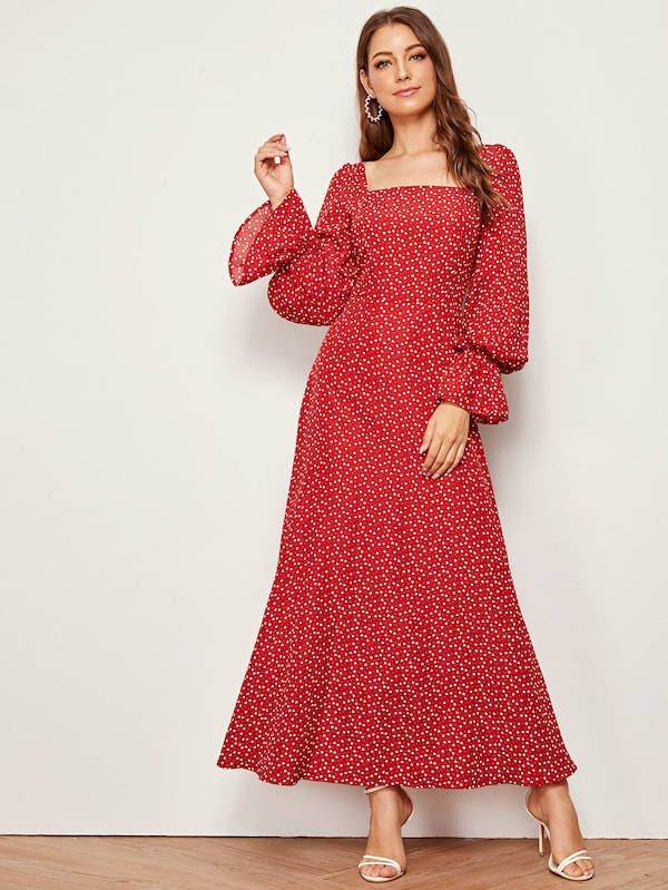 Danika Heart Print Maxi Dress - Huzsy