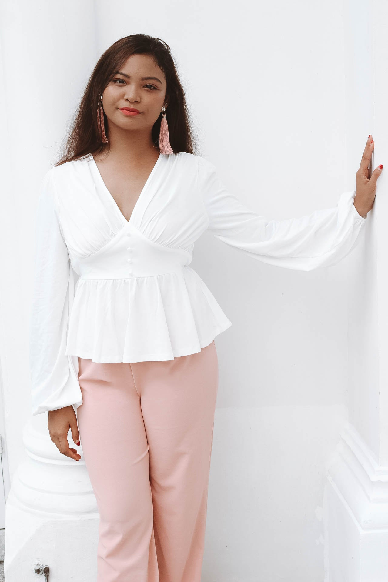 Kristy Button Detail Peplum Blouse - Huzsy