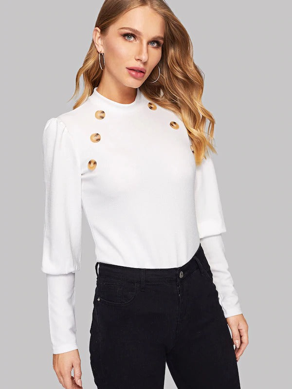 Dyan Double Button Top - Huzsy