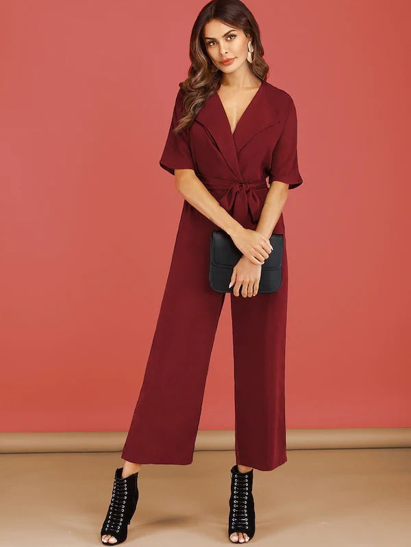 Abigail Notched Collar Jumpsuit - Huzsy