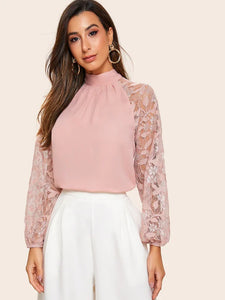 Edith Lace Sleeve Blouse - Huzsy