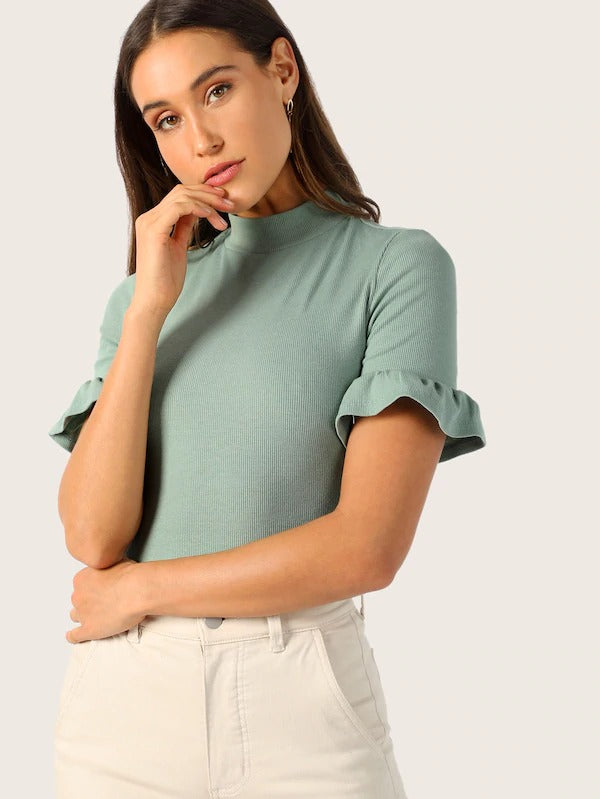 Faye Ruffle Trim Top - Huzsy