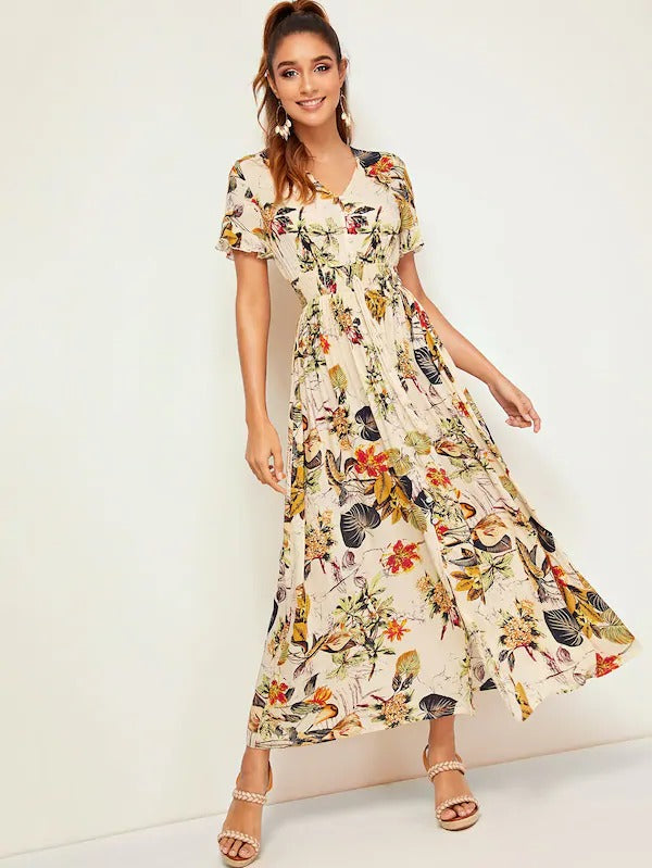 Maya Tropical Print Maxi Dress - Huzsy