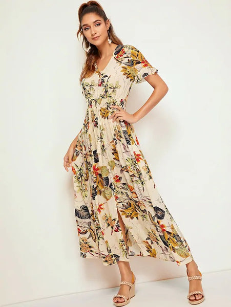 Maya Tropical Print Maxi Dress
