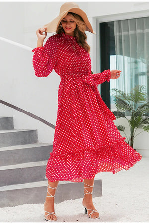 Binnie Polka Dot Midi Dress - Huzsy