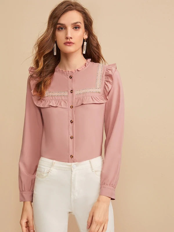 Martha Frill Trim Blouse