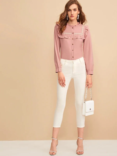 Martha Frill Trim Blouse - Huzsy