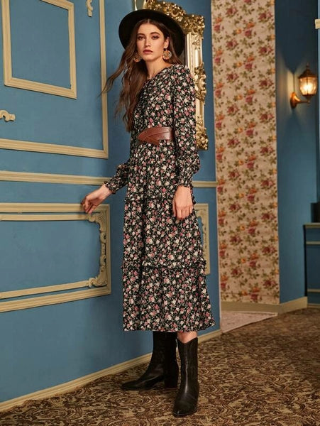 Kelly Ditsy Floral Print Dress